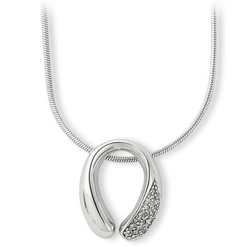 White Ice Sterling Silver Genuine Diamond Horseshoe Necklace