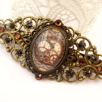 Filigree Steampunk Hair Clip in bronze with gear motif, antique hair clip