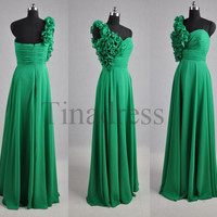 Custom Green Flowers Long Bridesmaid Dresses 2014 Prom Dresses Wedding Party Dress Evening Dresses Formal Party Dress Homecoming Dresses