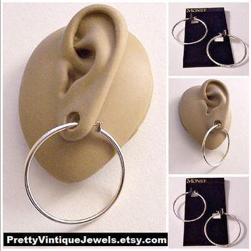 Monet Large Tube Hoops Pierced Stud Earrings Silver Tone Vintage Tube Round Open Ring Dangles Surgical Steel Posts