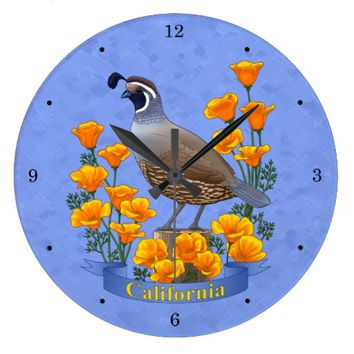 California State Bird Quail & Golden Poppy Large Clock