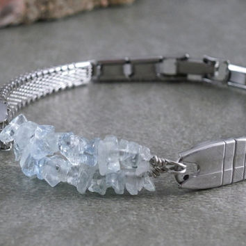 Eco Friendly Aquamarine Bracelet Vintage Watch Band Bracelet Aquamarine Jewelry Upcycled Recycled Repurposed Jewelry Gemstone Bracelet OOAK