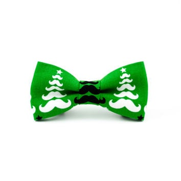 Dog Bow Tie in Christmas Green Mustache Trees, Limited Edition
