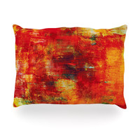 "Ebi Emporium ""Autumn Harvest"" Red Orange Oblong Pillow"
