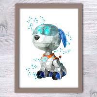 Robo Dog watercolor poster Robo-Dog art print Home decoration Paw Patrol wall decor Kids room wall art Nursery room decor Gift idea V288