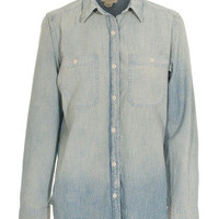 DENIM & SUPPLY by Ralph Lauren  Chambray Bandana Sun Faded Wash Jeanshemd mit Bandana-Rücken - Blusen