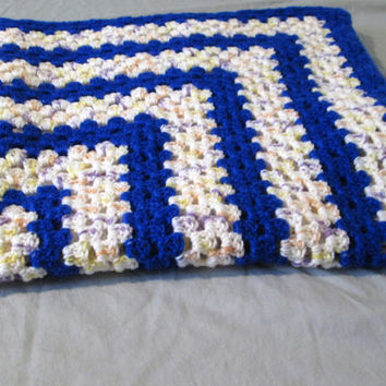 Lapghan Granny Square Mini Blanket Baby Blanket Lap Blanket Blue Crochet Ready to Ship
