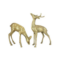 Brass Deer Figurines Pair Buck Doe Vintage Woodland Animal Antlers Mantle Home Office Bookshelf Decor Set Statuettes Christmas Spotted
