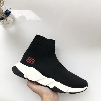 Balenciaga x Mr Porter Speed Trainer Mid Black Sneakers Stretch Knit Socks Shoes - Best Deal Online