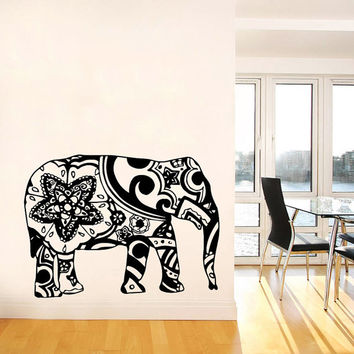 Wall Decal Vinyl Sticker Decals Art Home Decor Design Murals Indian Elephant Floral Patterns Mandala Tribal Buddha Ganesh Bedroom Dorm AN18