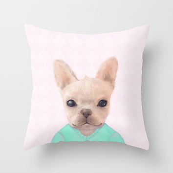 Portrait Of French Bull Dog Throw Pillow by Oksana