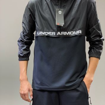 """""""Under Armour"""" Men Sport Casual Solid Color Leisure Upright Neck Hooded Print Long Sleeve Zip Cardigan Jacket Coat Outdoor Jacket"""