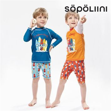 S-XXL Children Bathing Suits 2018 new Long sleeve Sunscreen print Two Pieces courageous Boys Swimwear Baby Trunks Swimming Suits