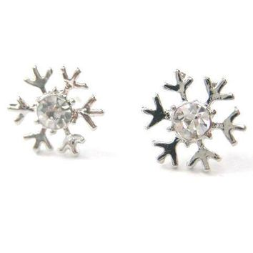 Unique Snowflake Shaped Stud Earrings in Silver with Rhinestones | DOTOLY
