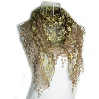 Women Rose Embroidery Lace Triangle Pendant Soft Wraps Scarf Scarves [9303756234]