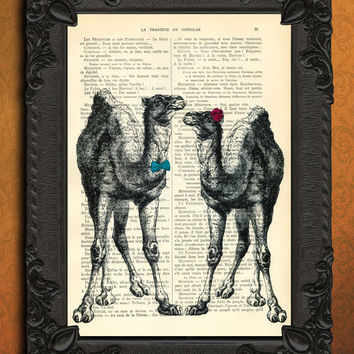 camels couple print - just married - camels art print - vintage dictionary print - vintage dictionary page print - vintage book page print
