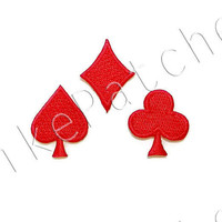 Set 3pcs. Red Club Card Games New Sew on / Iron On Patches Embroidered Applique Size 2.3cm.x2.5cm. / 3cm.x2.1cm. / 2.1cm.x2.7cm.