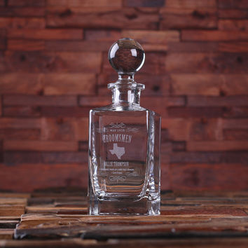 Personalized Whiskey Decanter with Global Bottle Lid – D