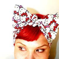 Bow style Vintage Inspired Head Scarf Hello Kitty by OhHoneyHush