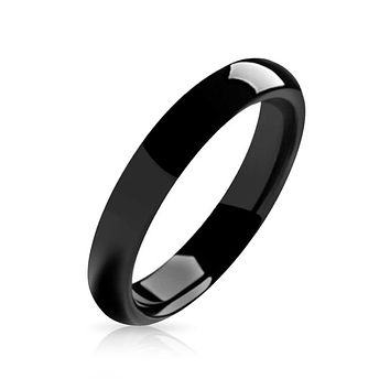 Plain Simple Dome Black Couples Wedding Band Tungsten Rings 4MM