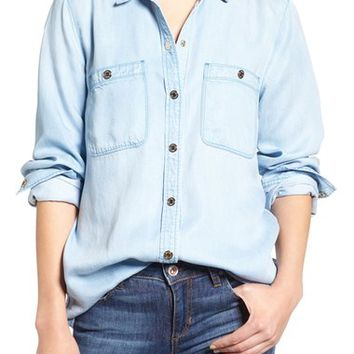 7 For All Mankind® Boyfriend Chambray Shirt | Nordstrom
