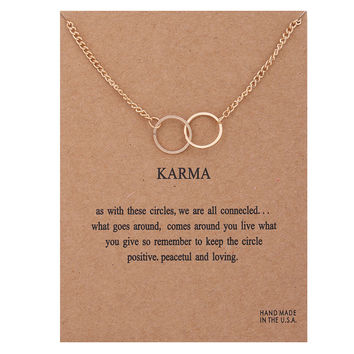 Sparkling karma large 2 linked gold plated Pendant necklace gold plated Clavicle Chains Statement Necklace Women Jewelry