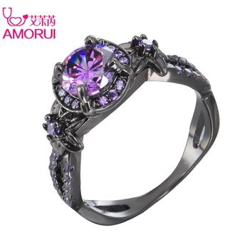 Women Trendy Wedding Bands Alloy Black Color Love Ring Purple Cubic Zircon Rings Party Ring Jewellery