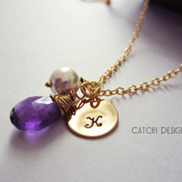 February Birthstone necklace,Purple Theme wedding,Bridesmaid Gifts,Personalized,Amethyst Stone,initial pearl,thank you card,maid of honor