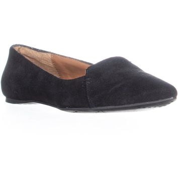 Dolce Vita Lex Pointed Toe Loafer Flats, Black, 7.5 US