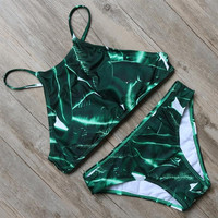 Green High Neck Swimwear Women Bikinis Set