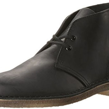 Clarks Men's Desert Boot Boot, black smooth, 13 Medium US