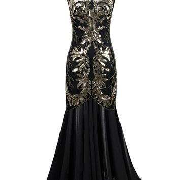 1920s Gatsby Sequin Black Cocktail Ballroom Gown
