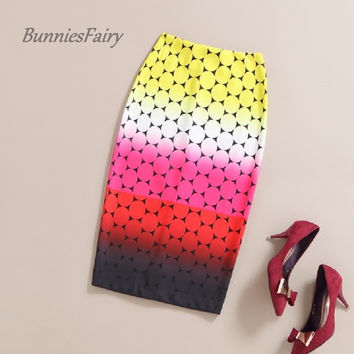 BunniesFairy 2016 Summer Sweet Gradual Candy Color Polka Dot Print High Waist Pencil Skirt Bodycon Faldas Plus Size Jupe Femme