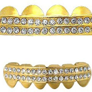 2 Row iced Out Vampire Grillz Set