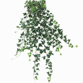 """31.50"""" Decorative Green and White Ivy Spring Floral Hanging Bush"""
