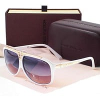 LV Stylish Women Men Elegant Sun Shades Eyeglasses Glasses Purple White Frame I