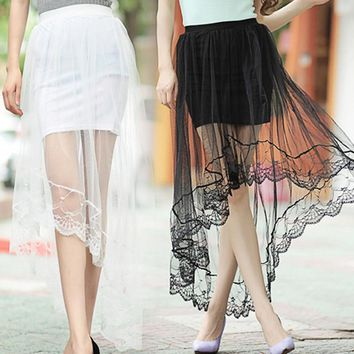 Sexy Women Netting Yarn Dovetail Skirt Elegant Lace Long Tulle Skirts Jupe High Waist Skirts   H9