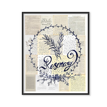 Herbs Kitchen decor ROSEMARY ART Culinary Prints Kitchen Art Botanical poster Green Wreath Art Food Art Cooking Herbs Wall Art vintage look