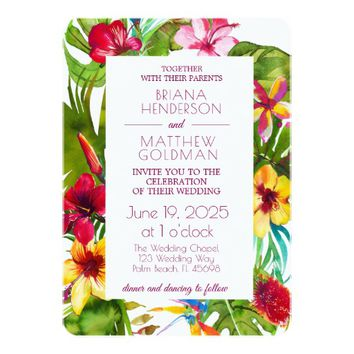 Tropical Floral Wedding Invitation for Summer