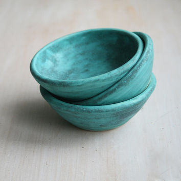 Three Small Ancient Turquoise Glazed Pottery Bowls Handmade Rustic Prep Bowls Set of Three Ceramic Pottery Bowls Ready to Ship Made in USA