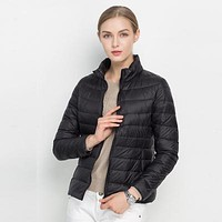 Women Winter Coat Ultra Light White Duck Down Jacket Slim Women Winter Puffer Jacket Portable Windproof Down Coat