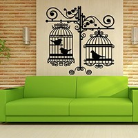 Wall Decal Vintage Bird Cage Vinyl Sticker Decals Birdcage Love Birds on Branch Bedroom Dorm Nursery Home Decor Art Design Interior NS1047