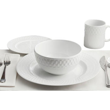 16-Pc Basket Weave Dinner Set, Place Settings