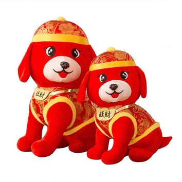 2018 Dog Year Mascot Plush Toys for Children 25cm/50cm Stuffed Dolls Tang Suit Zodiac Doll Plush Toys Chinese New Year Gift