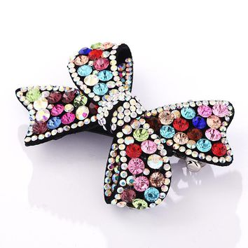 M MISM 2017 Bow Tie Shape Crystal Rhinestone Elegant Hairpin For Women Handmade Elastic Bow Hair Accessories Hairgrip Hair Clip