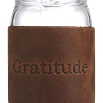 Studio Penny Lane 'Gratitude' Leather Sleeve Mason Jar