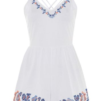 Embroidery Strappy Playsuit - Clothing