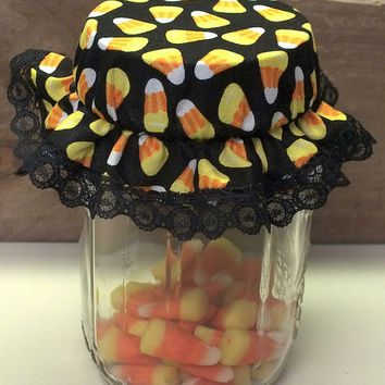 6 Candy Corn Mason Canning Jar Bonnets/Jar Topper /Jar Lid Cover