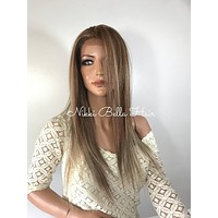 Light Blond Balayage' Straight Human Hair Blend Multi Parting Lace Front Wig - Hannah