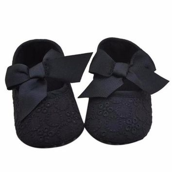Cute Eyelet Baby Shoes Infant Girls Cotton Ribbon